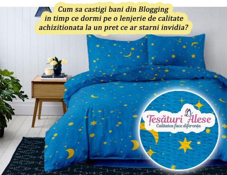 Cum sa castigi Bani din Blogging in timp ce <br> dormi pe o Lenjerie de Calitate achizitionata <br> la un Pret ce ar starni invidia?